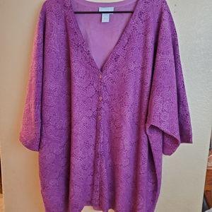 Liz&Me Button Purple Floral Cardigan 4X